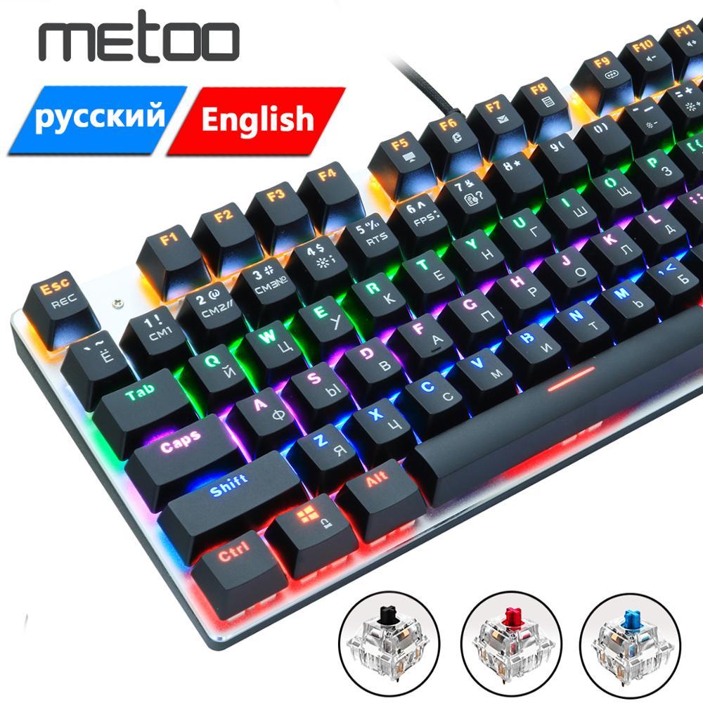 Metoo jogo de teclado mecânico anti-fantasma russo/eua azul preto vermelho interruptor backlit teclado com fio para pro gamer