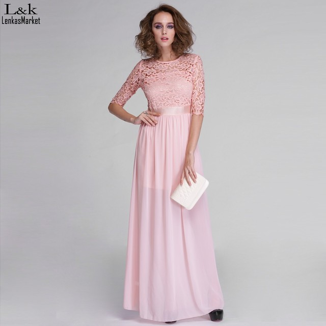 Nieuwe roze chiffon maxi jurk vrouwen kant patchwork lente volledige lengte pretty party slim jurken 63