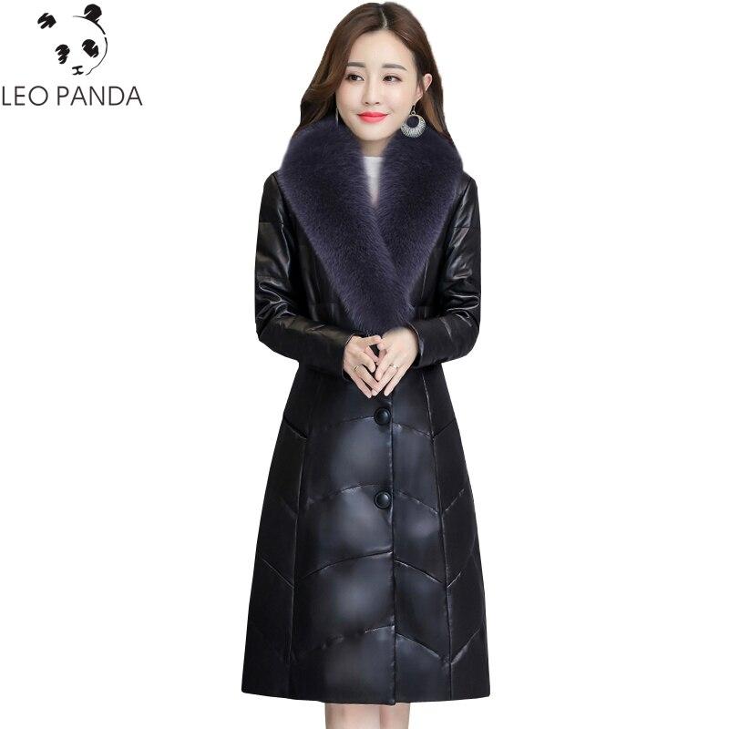 Faux Femmes Épaissir black Rembourré Parkas La 2018 Down Plus Manteau Coton Haut Gamme De Chaud Cuir Violet Taille Renard Hiver En Casual Col Jacket Fourrure lKcTFJ1