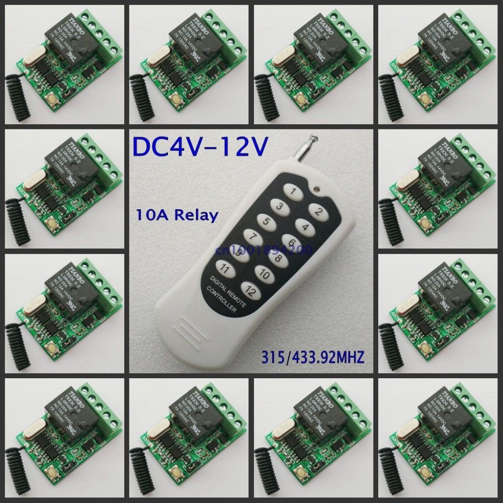 Momentary Toggle Button Remote Control Switch 4V 5V 6V 7.4V 9V 12V 12CH 10A Relay Mini Wireless Switch NO COM NC Contact ON OFF dc 4v 5v 6v 7 4v 9v 12v mini relay remote control switch no com nc contact rf 15 pcs receiver transmitter wireless rx tx 315433