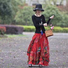 Free Shipping 2019 New Fashion Long Maxi A-line Elastic Waist Women Spring Summer S-2XL High Quality Print Vintage Red Skirts