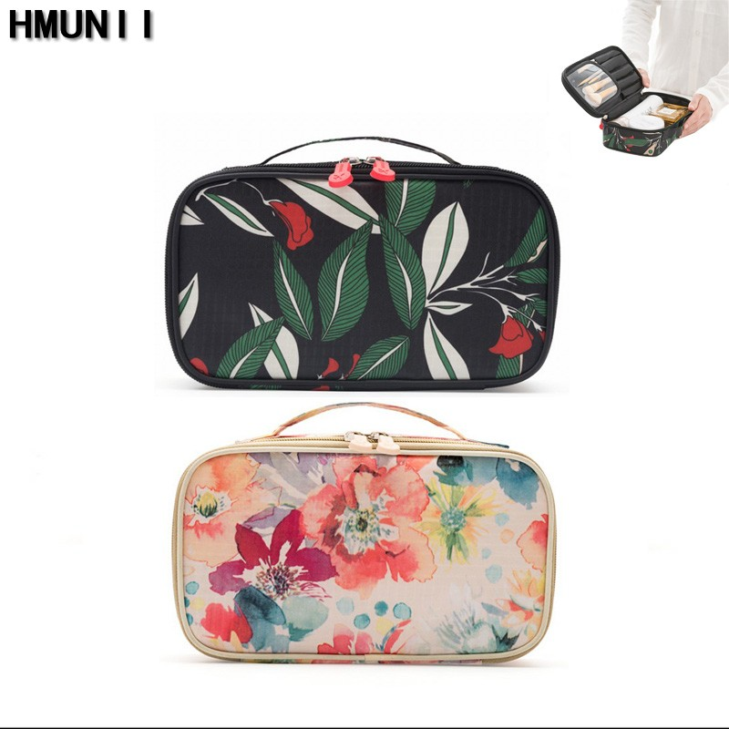 HMUNII Cosmetic Bags Makeup Bag Women Travel Organizer Professional Storage Brush Necessaries Make Up Case Beauty Toiletry Bag unitoptek outdoor 2mp tvi camera 1080p ir bullet weatherproof 20m ir bullet security cctv hdtvi camera 720p work for tvi dvr