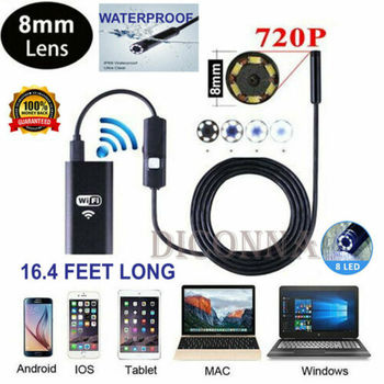 5M Wireless WiFi Endoscope Waterproof Borescope Inspect Camera For IOS Android