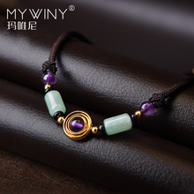 Original purple crystal Aventurine necklace women vintage jewelry,New ethnic collar necklace, nature stones chokers necklaces