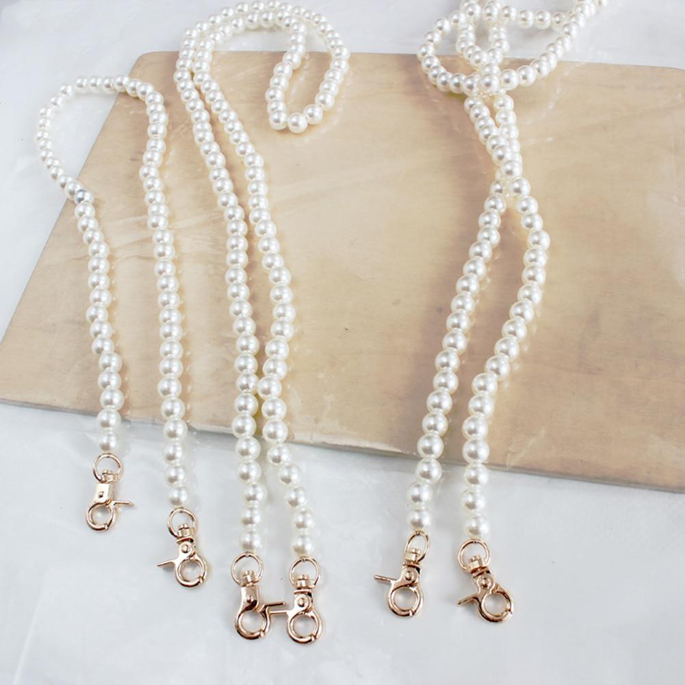 Faux Pearl Beaded Design Women Handbag Strap Length Can Customised Pretty Lady Shoulder Bag Belts 3 Sizes