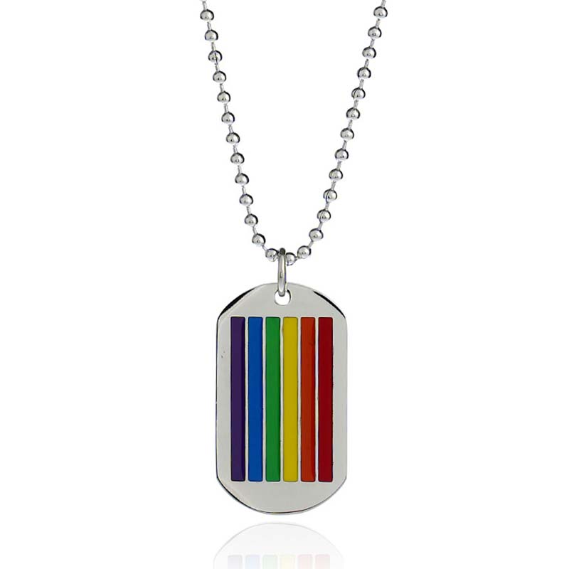 European and American Rainbow Striped Metal Mens Necklace Simple Long Geometric Necklaces For Men Women