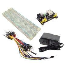Mb102 breadboard módulo de potência + MB-102 830 pontos solderless protótipo pão placa kit 65 fios jumper flexível potência