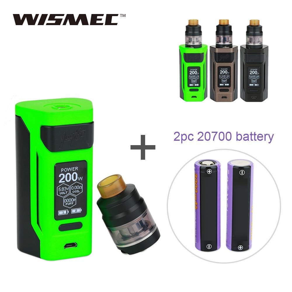 Original 200W WISMEC Reuleaux RX2 TC Kit with 2ml/ 4ml Gnome Atomizer and 2x 20700 Battery 6000mAh  E cigs RX 2 Vape Kit
