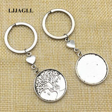 Love Heart Keyrings 3pcs/lot Metal Keychain Round Cabochon Setting DIY Vintage Handmade Key Chains for Jewelry Making AYS074