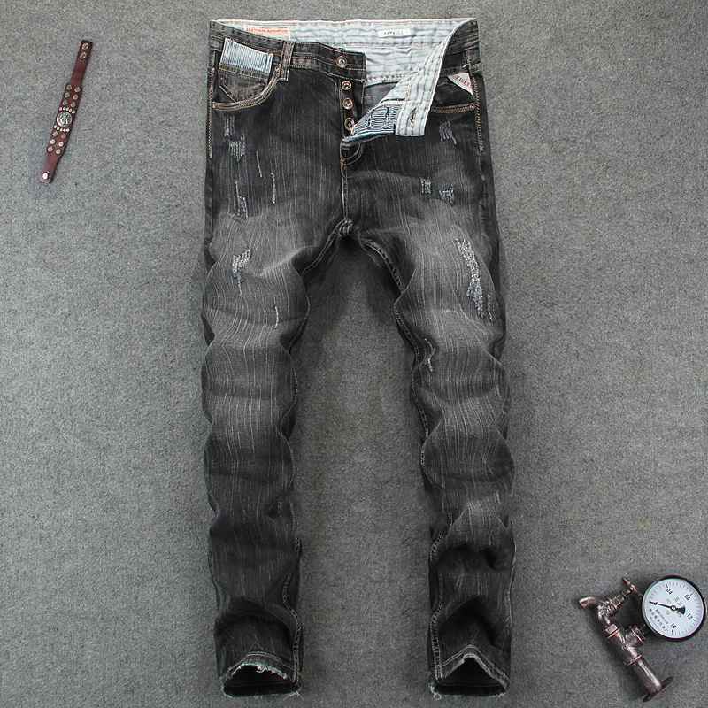 ФОТО Dark Gray Fashion Men Jeans Denim Casual Leisure Pants Slim Fit High Quality Distressed Ripped Jeans Men Skinny Stripe Jeans