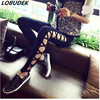 2018 New Fashion Hollowed Out Pencil Pants Spring High Elastic Female Leggings Black Bandage Slim Casual