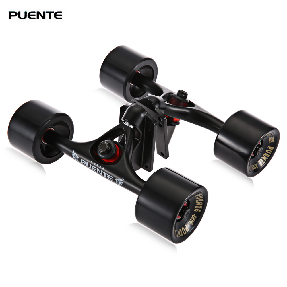 PUENTE 2pcs / Set Skateboard Truck with 4 Skateboard Wheels Riser Pad ABEC - 9 Bearing Bolt Nut For Mini Cruiser LongboardPUENTE 2pcs / Set Skateboard Truck with 4 Skateboard Wheels Riser Pad ABEC - 9 Bearing Bolt Nut For Mini Cruiser Longboard