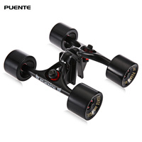 PUENTE 2pcs / Set Skateboard Truck with 4 Skateboard Wheels Riser Pad ABEC 9 Bearing Bolt Nut For Mini Cruiser Longboard