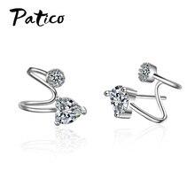 Fashion 925 Sterling Silver Cubic Zircon Ear Cuff Fake Piercing Clip On Earrings Jewelry Bijoux Boucle Doreille For Women