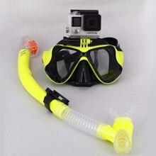 Good Full Dry Snorkel Equipment Tube Diving Mask with Camera Mount Anti Fog Scuba Snorkeling Swim Training For Gopro Xiao mi yi