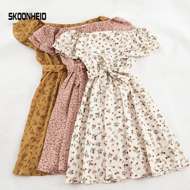 SKOONHEID mujeres vestido Floral bohemio A-Line slash cuello manga corta vestido de verano vintage playa de hombro Polka Dot Sundress