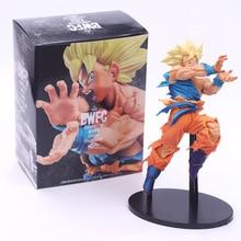 Dragon Ball Z Goku Positively Facing Enemy Style Action Figure DBZ Goku Super Saiyan Shock Wave Collection Model Toys 18cm