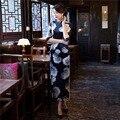Shanghai Story long Qipao chinese dress oriental styled dresses estido tradicional 3/4 Sleeve Cheongsam dress 2 Color