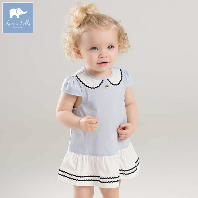 52ac03e40 Dave bella lovely little baby girls dresses infant toddler solid clothes  children birthday party high quality costumes DB7104