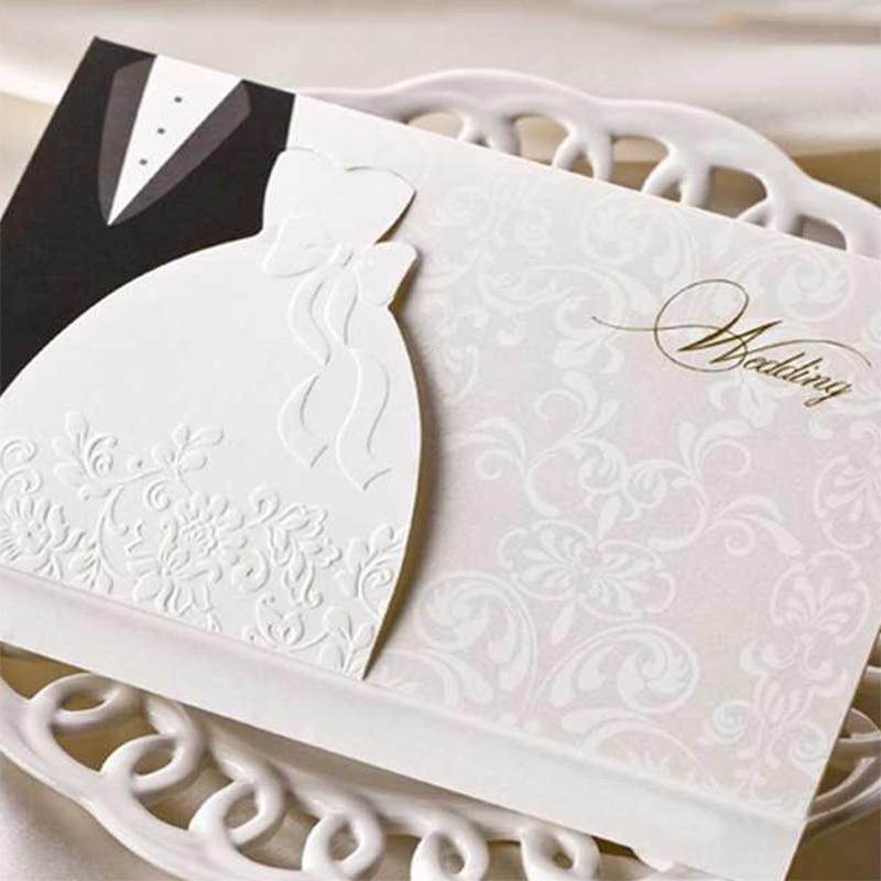 New Retro elegant Wedding invitations Cards Print Blank inside Paper Card Tie the Kont bride Groom Design 20 50 100Set