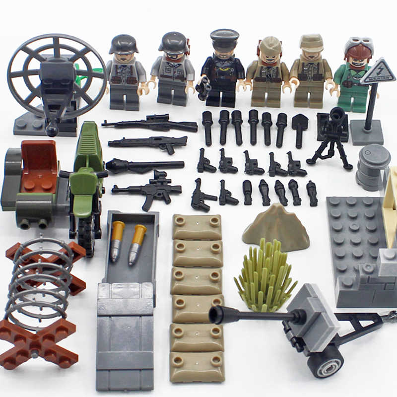 World war Desert Eagle brickmania military figures building block ww2 germany army air forces minifigs weapon bricks toy for boy