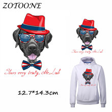 ZOTOONE Heat Transfer Clothes Stickers Gentleman Dog Patches for T Shirt Jeans Iron-on Transfers DIY Applique Clothes Parches C