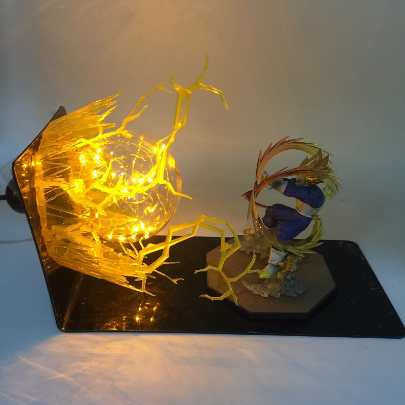 Anime Dragon Ball Z Goku Vegeta Spirit Bomb Action Figures LED Lamp light ball Toy super Saiya Kamehameha Explosion Scene gift