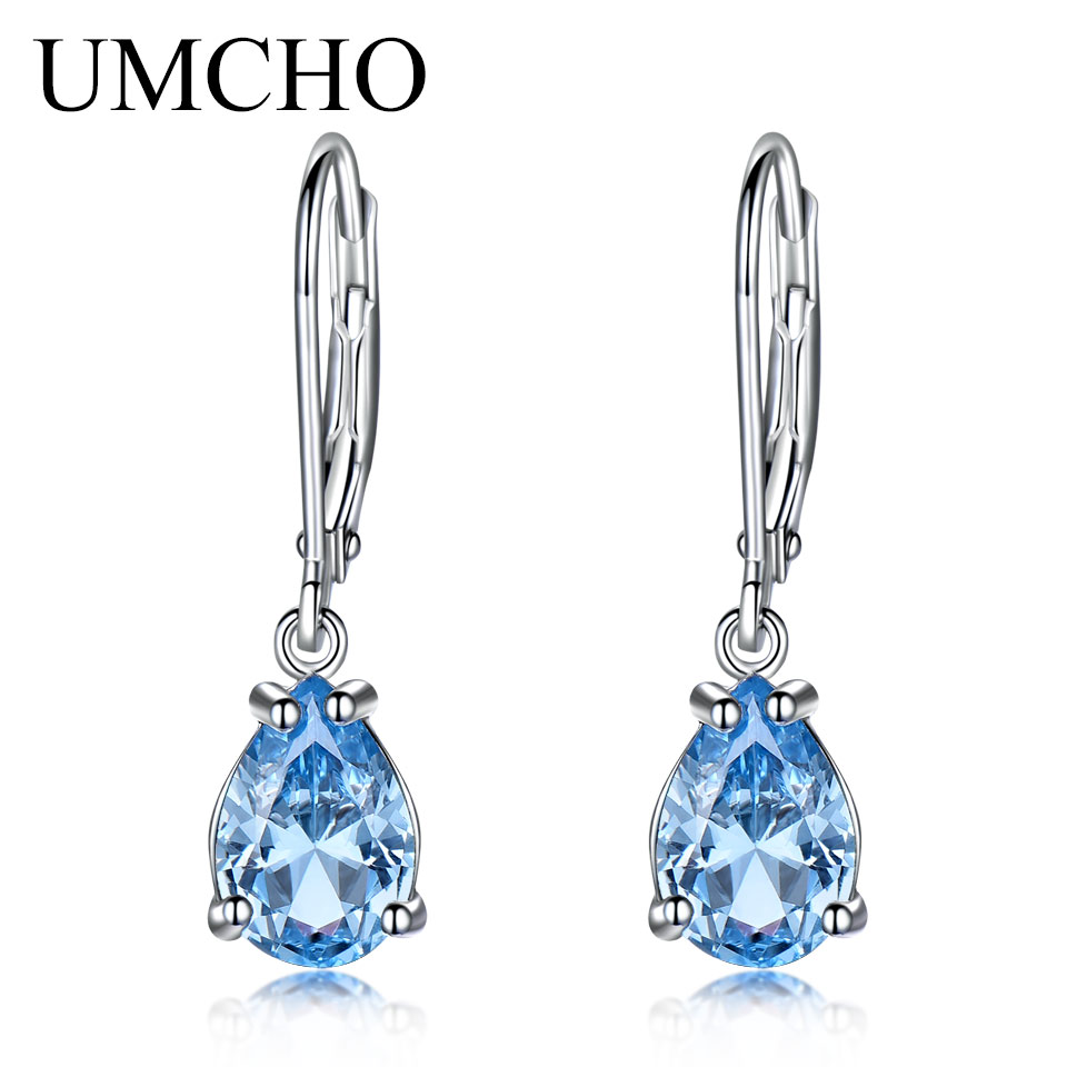UMCHO Pure 925 Sterling Silver Clip Earrings For Women Sky Blue Topaz Gemstone Wedding Engagement Christmas Gift Fine Jewelry