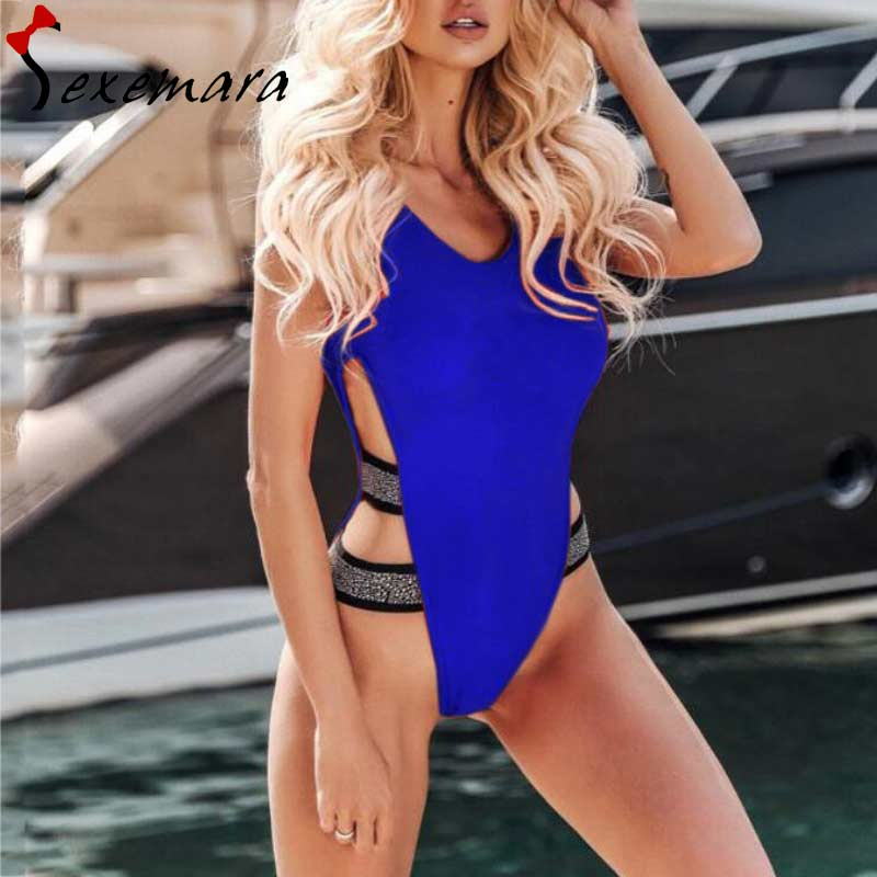 9eafbf94923 sexy shiny patchwork bikini red/black/blue/orange backless one piece  swimsuit 2019 beach bathing suit women hollow out swimwear-in Body Suits  from Sports ...