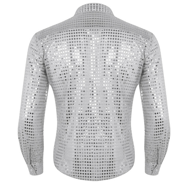 iEFiEL Mens Fashionable Clothing Shiny Sequins See Through Mesh Long Sleeve Clubwear Evening Dance Performance Top Shirt 2