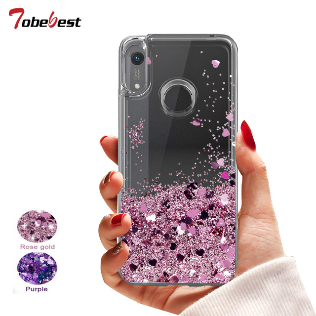 Honor 8A Glitter Liquid Case For HUAWEI Y6 2019 Silicone Coque Huawei Honor 8A Dynamic Qicksand Star Love heart Back Cover