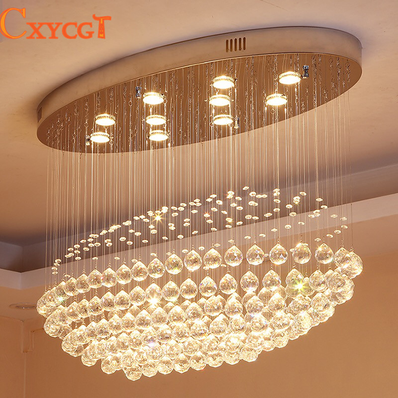 Us 408 0 40 Off New Large Oval Crystal Chandelier Lighting Haning Lamp Modern Hall Lights In Chandeliers From On