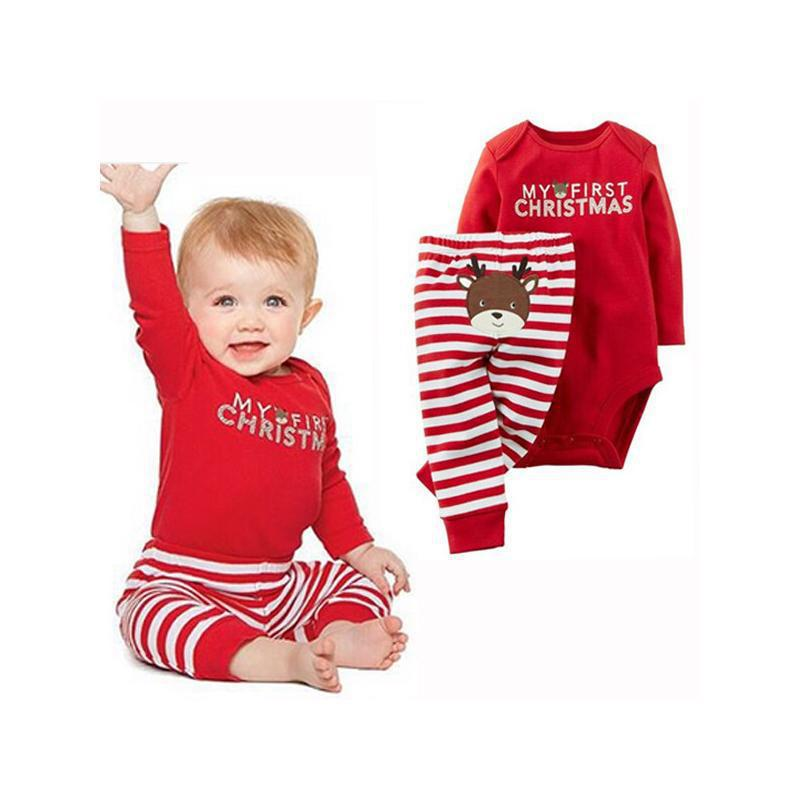 Santa Claus Animal Romper Striped Pants Suit for Toddlers Baby Boys Girls Christmas Clothing Set New