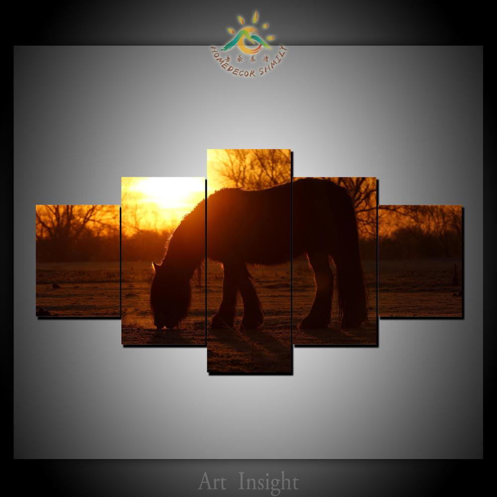 5 Pieces Horse In Sunset Modern Wall Art Pictures HD Printed Canvas Painting Modular Pictures HD Paints Home Decoration