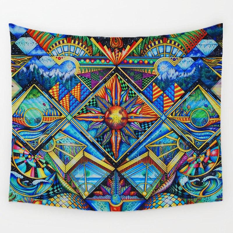 Patrón geométrico Irregular Hippie Mandala tapiz pintura abstracta arte colgante de pared gobelín salón decoración manualidades