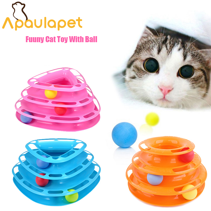 APAULAPET Rose Red Three Levels Tower Tracks Disc Cat Toy Amusement Shelf Play Station For Cat Funny Pet Toys