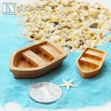Zakka new resin Retro wood boat model Figurines Toys micro garden Decoration ornaments terrariums/miniature DIY accessories