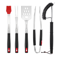 HOMEMAXS 5Pcs Stainless Steel BBQ Tools brush Bottle opener clip Steak fork Outdoor Barbecue Grill Utensils Set Kitchen Tool