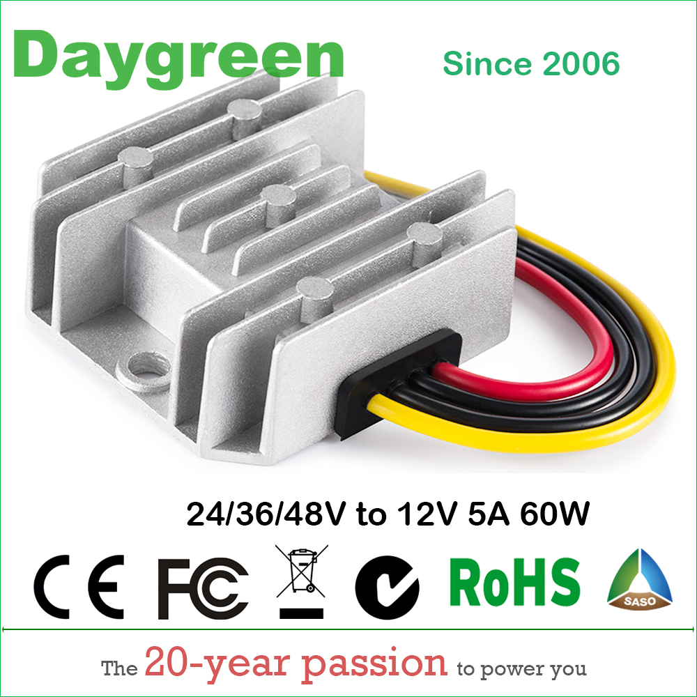 24V 36V 48V to 12V 5A 60W DC DC Converter Regulator Car Step Down Reducer Daygreen CE RoHS Certificated Waterproof ce rohs approved 150w dc to dc converter sd 150c 24 48v to 24v led power supply