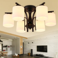 Modern Led Bulb Ceiling Light Fixtures Black Iron White Glass Lampshade Lamp Fitting