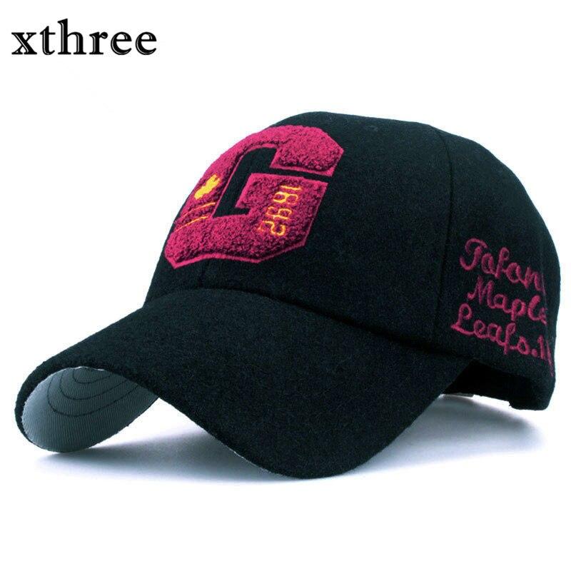 1xthree de moda otoño invierno de lana gorra de béisbol carta casquillo  bordado canadá casquette snapback Hat para hombres mujeres casquillo del  Recorrido ... 1f5ccabdb88