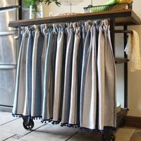 High Quality Half curtain Green Plaid Stripe Cotton Linen Roman Curtain White Lace Hem Tube Curtain for Kitchen Cabinet Door