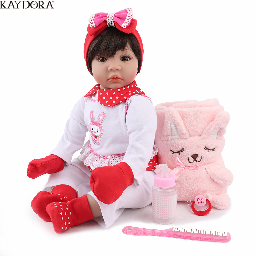 KAYDORA Reborn Baby Doll Lifelike Bebe Boneca Soft Vinyl Adorable Girl Cute 22 inch Birthday Christmas Gift For Kids Bebe RebornKAYDORA Reborn Baby Doll Lifelike Bebe Boneca Soft Vinyl Adorable Girl Cute 22 inch Birthday Christmas Gift For Kids Bebe Reborn