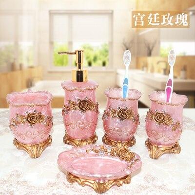 Joli ensemble de salle de bain rose cadeaux de mariage en résine ensemble de salle de bain ensemble de cinq pièces trousse de toilette salle de bain accessoires décor