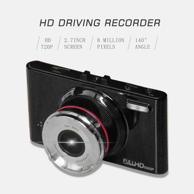 High Quality Car Vehicle 2.7 Inch Screen Display HD 720P Driving Recorder 140 Degree Angle & 8 Million Pixels Recorder