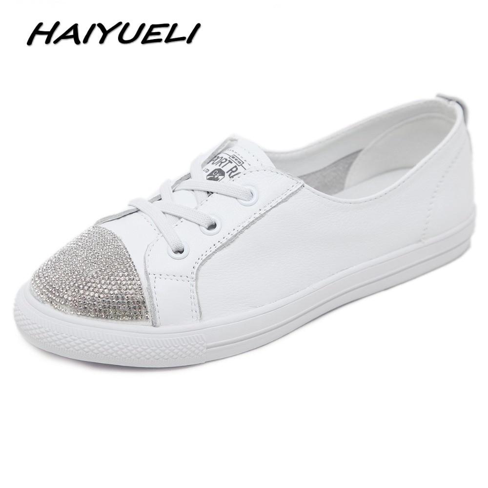 Skate Véritable Femme Bout Casual Plat De Femmes Blanc Rond Chaussures 40 Cristal Mode Femelle Haiyueli Cuir Sneaker 35 qCw8SX