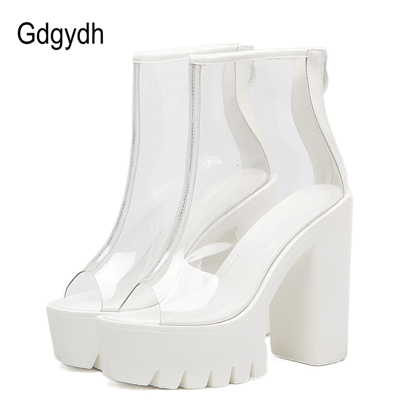 Gdgydh Ankle Boots Summer Women Party Shoes New 2018 Fashion Peep Toe PVC Zip Design Women Boots High Heels White Platform Shoes apoepo red pom poms peep toe sandals boots clear pvc front zip stiletto high heels ankle boots summer shoes woman big size 2018