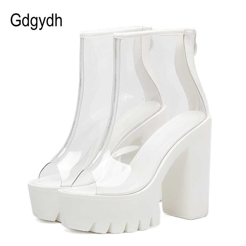 f5ddc3d5 Gdgydh tobillo botas verano Mujer fiesta zapatos nuevo 2019 moda Peep Toe  PVC Zip diseño mujer