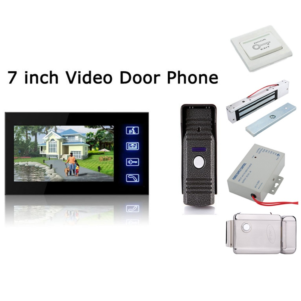 Home Set 7inch LCD Color Wired Video Door Phone Audio Visual Intercom Entry System For House Villa 1V1 with 16 kinds of rings