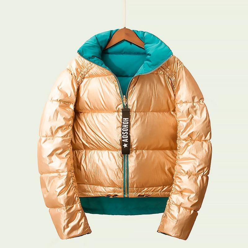 Fashion Double-sided Wear Winter White Duck   Down   Jacket Women 2019 New Arrival Women's   Down     Coat   Gold Outwear Loose Fit Korean